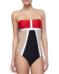 Luxe By Lisa Vogel Mrs. Bond Colorblock Maillot