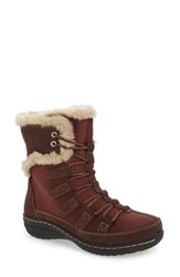 Aetrex Women's Waterproof Faux Fur Trim Boot Cranberry Nylon Fabric