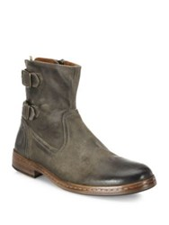 John Varvatos Leather Almond Toe Booties Wood Brown