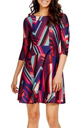 Donna Morgan Women's Print Scuba Fit And Flare Dress