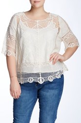 Democracy Elbow Sleeve Crochet Knit 2 Piece Top White