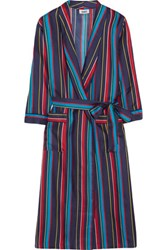 Sleepy Jones Marianne Striped Silk Charmeuse Robe Royal Blue