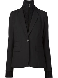 Veronica Beard Knitted Collar Insert Blazer Black