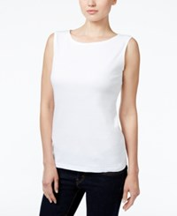 Karen Scott Petite Boat Neck Tank Top Only At Macy's Bright White
