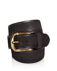 John Varvatos Star Usa Textured Suede Stitch Belt Black