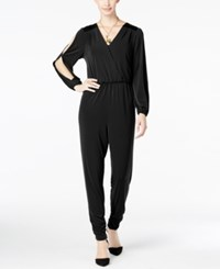Thalia Sodi Faux Leather Trim Jumpsuit Only At Macy's Deep Black