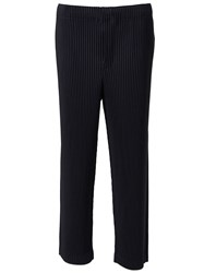Issey Miyake Pleated Cropped Trousers Blue