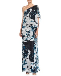 Badgley Mischka Beaded One Shoulder Floral Print Gown Blue Multi