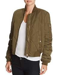 Aqua Quilted Bomber Jacket Olive