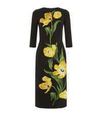 Dolce And Gabbana Tulip Embroidered Pencil Dress Female Black
