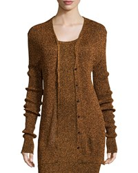 Opening Ceremony Disco Metallic Ribbed Knit Cardigan Size S Brown