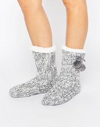 Loungeable Marl Knit Pom Trim Sock Grey