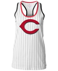 5Th And Ocean Women's Cincinnati Reds Pinstripe Glitter Tank Top White