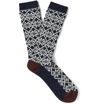 Anonymous Ism Jacquard Knit Socks Navy