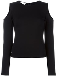 Akris Punto Cut Out Shoulder Top Black