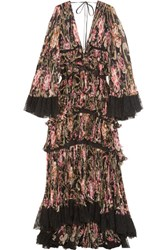 Roberto Cavalli Tiered Lace Trimmed Plisse Silk Gown Black
