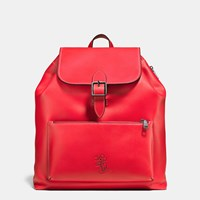 Coach Mickey Rainger Backpack In Glovetanned Leather Red