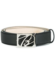 Brioni Logo Plaque Belt Black