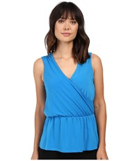 Ellen Tracy Blouson Faux Wrap Top Aquamarine Women's Clothing Blue