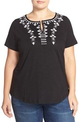 Plus Size Women's Caslon Embroidered Split Neck Tee Black Grey Embroidery
