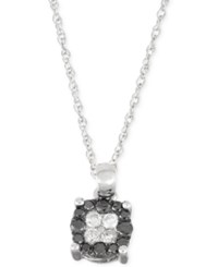 Macy's Black And White Diamond Pendant Necklace 1 4 Ct. T.W. In 10K White Gold