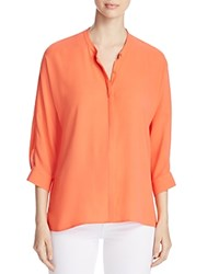 Eileen Fisher Mandarin Collar Silk Shirt Guava