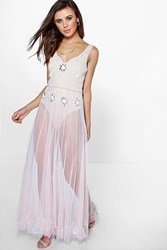 Boohoo Lydia Sequin Maxi Dress Nude