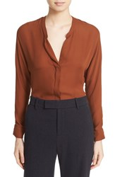 Vince Women's Split Neck Silk Blouse Cinnamon Stick