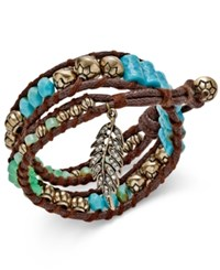 Macy's Gold Tone And Brown Cord Beaded Pave Feather Wrap Bracelet Multi