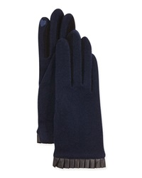 Portolano Cashmere Blend Leather Cuffed Tech Gloves Navy Black