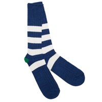 Anonymous Ism Blue Stripe Rib Crew Socks
