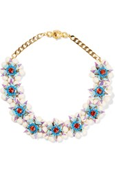 Shourouk Gold Plated Stone Faux Pearl And Sequin Necklace Blue