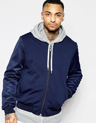 Asos Bomber Jacket With Mesh Sleeve In Navy Navy
