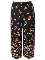 Dorothy Perkins Floral Border Print Cropped Trousers Black