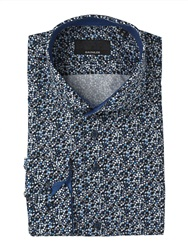 Paul Costelloe Navy Bubbles Print Single Cuff Shirt
