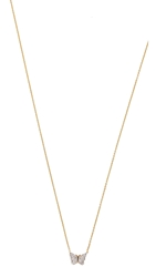 Kacey K Mini Butterfly Necklace Gold Clear