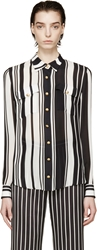 Balmain Black And White Striped Silk Blouse