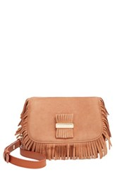See By Chloe 'Medium Paige' Fringe Leather And Suede Clutch Brown Nougat