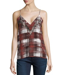 Lovers Friends Last Goodbye Lace Inset Cami Merlot Plaid