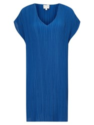 East V Neck Pleat Tunic Dress Cobalt