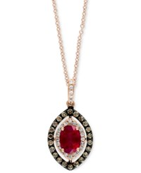 Effy Collection Rosa By Effy Ruby 9 10 Ct. T.W. And Diamond 1 3 Ct. T.W. Pendant Necklace In 14K Rose Gold Red
