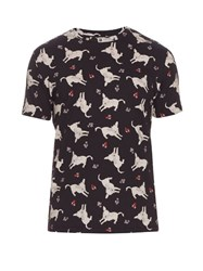 J.W.Anderson Donkey Print Cotton Jersey T Shirt Black Multi