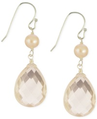 Macy's Pink Rose Quartz 15 1 4 Ct. T.W. And Cultured Freshwater Pearl 5 1 2Mm Earrings In Sterling Silver