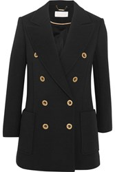 Chloe Double Breasted Wool Pique Blazer Black