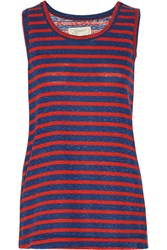 Current Elliott The Muscle Striped Cotton Blend Tank Blue