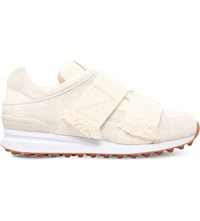 3.1 Phillip Lim Trance Frayed Detail Suede Trainers White