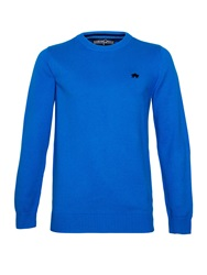 Raging Bull Plain Crew Neck Pull Over Jumper Cobalt