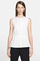 Akris Punto Sleeveless Peplum Cotton Blouse Cream