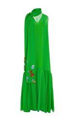 Delpozo Sleeveless V Neck Cotton Long Dress Green