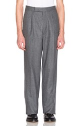 Thom Browne Distressed Wool Flannel Trousers In Gray